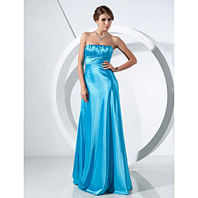 A-line Strapless Sweep/ Brush Train Elastic Woven Satin Evening Dress