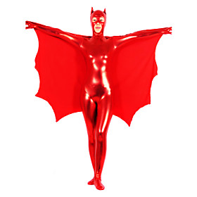Red Pure Color Shiny Metallic Women Spandex Catsuit