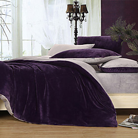 Solid Dark Purple 3-piece Full / Queen / King Duvet Cover Set