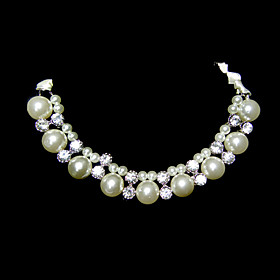 Imitation Pearl And Rhinestone With Ribbon Wedding Bridal Necklace