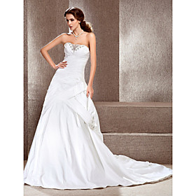 A-line Sweetheart Court Train Taffeta Satin Side-draped Wedding Dress