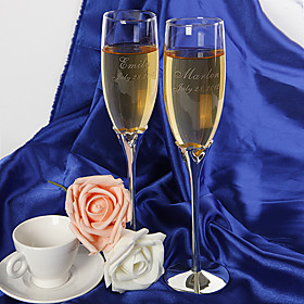 Personalized Hollow Hearts Toasting Flutes (Set of 2)