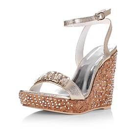 Top Quality Leather Upper High Heel Wedge Heel With Rhinestone Special Occasion Shoes/ Fashion Shoes