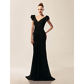 Chiffon Sheath/ Column V-neck Short Sleeve Floor-length Evening Dress