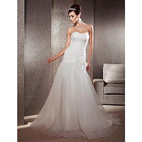 Trumpet/Mermaid Sweetheart Chapel Train Organza Floral Wedding Dress
