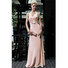 Sheath/ Column One Shoulder Floor-length Chiffon With Beading/ Bow(s) Evening Dress