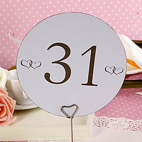 Round Table Number Card - Double Hearts (set of 10)