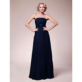 Sheath/Column Strapless Floor-length Chiffon Mother of the Bride Dress