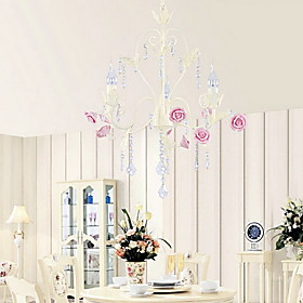 Crystal Chandelier with 3 Lights in Rose Feature