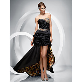 Ball Gown Sweetheart Asymmetrical Taffeta And Charmeuse Evening Dress