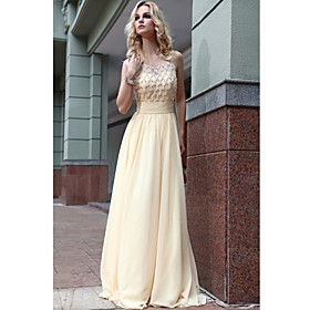 A-line/ Princess Scoop Floor-length Chiffon With Flower(s) Evening Dress