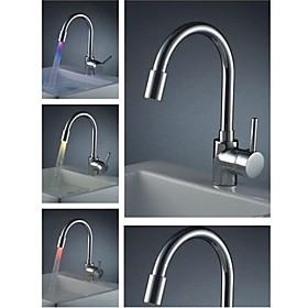 Chrome Finish Brass Kitchen Faucet with Color Changing LED Light
