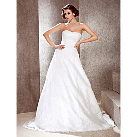 A-line/ Princes Sweetheart Court Train Lace Wedding Dress
