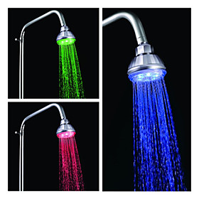3-inch Water Powered LED Shower Head (Plastic, Chrome Finish)