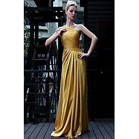 Sheath/ Column One Shoulder Floor-length Satin Chiffon With Beading/ Side Draping Evening Dress