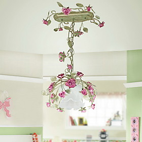 Floral Pendant Light in Rose Decoration