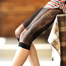 TS Lace and Floral Print Pantyhose