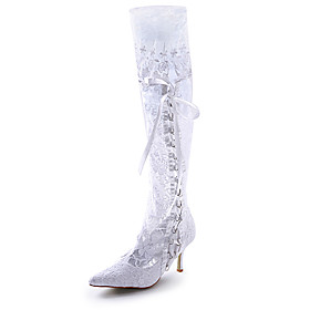 Top Quality Satin Upper High Heel Closed-toes Wedding Boots / Wedding Shoes.More Colors Available