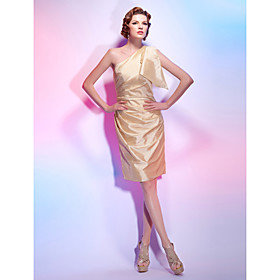 Elastic Silk-like Satin Sheath/ Column One Shoulder Knee-length Cocktail Dress inspired by Eva Longoria