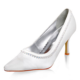 Top Quality Satin Upper High Heel Pumps With Rhinestone Wedding Bridal Shoes