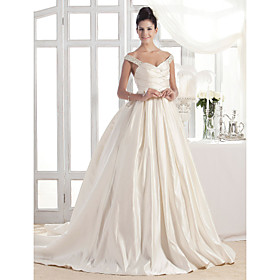 A-line Off-the-shoulder Court Train Satin Wedding Dress