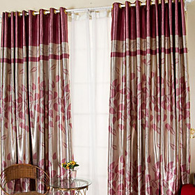 Leavies Print Pink Casual Blackout Curtain (Pair)