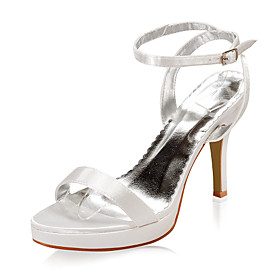 Satin Upper High Heel Open-toes Wedding Bridal Shoes