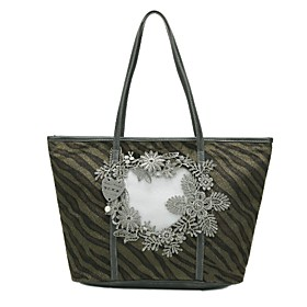 TS Green Zebra Print Flower Embroidery Long Shoulder Bag(45cm 29cm 12cm)