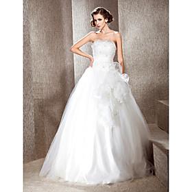 A-line Strapless Floor-length Satin Wedding Dress