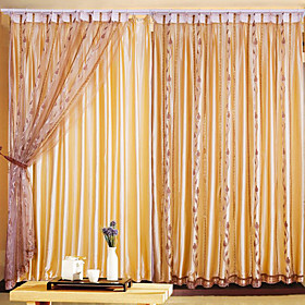 Coffee Leaf Classic Sheer Curtains (Pair)