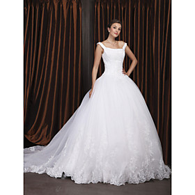 Ball Gown Off-the-shoulder Chapel Train Satin Organza Wedding Dress