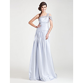 A-line One Shoulder Floor-length Chiffon Satin Bridesmaid Dress