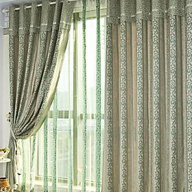 Jacquard Classic Grey / Lavender Blackout Curtains (Pair)