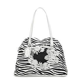 TS Zebra Print Flower Embroidery Tote Bag(40cm 30cm 14cm)