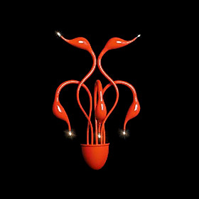 Artistic Wall Light with 5 Lights in Red