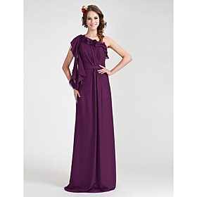 Sheath/ Column One Shoulder Floor-length Chiffon Bridesmaid Dress