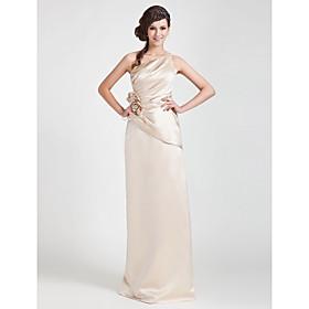 Sheath/ Column One Shoulder Floor-length Satin Bridesmaid Dress
