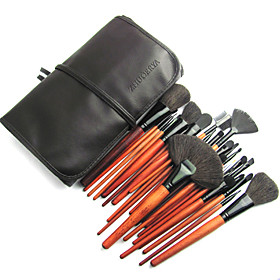 Professional Wool Brush Set With Dark Brown Pouch(28 Pcs)