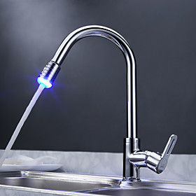 Sprinkle® - Solid Brass Pull Down Kitchen Faucet with Color Changing LED Light