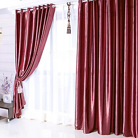 Noble Solid Red Casual Blackout Curtain (Pair)
