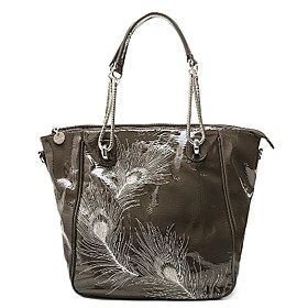 TS Peacock Feather Patent Tote Bag(40cm 32cm 13cm)