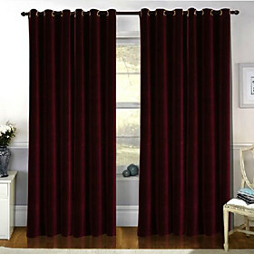 Casual Red Solid Blackout Curtains (Pair)