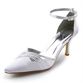 Top Quality Satin Upper High Heel Closed-toes With Rhinestone Wedding Bridal Shoes