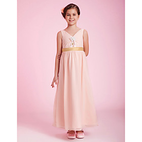 A-line V-neck Tea-length Chiffon Junior Bridesmaid Dress