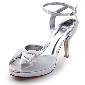 Satin Upper High Heel Strappy Sandals With Rhinestone/ Bowknot Wedding Bridal Shoes