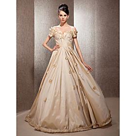 A-line Off-the-shoulder Floor-length Taffeta Lace Wedding Dress