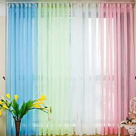 Solid Contemporary Fold Sheer Curtains (Pair)