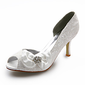 Top Quality Lace/ Satin Upper Stiletto Heel Peep Toe With Bowknot Wedding Shoes/ Bridal Shoes