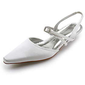 Top Quality Satin UpperLow Heel Closed-toes With Rhinestone Wedding Shoes/ Bridal Shoes .More Colors Available