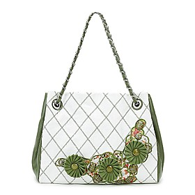 TS Floral Embroidered Chain Tote Bag (More Colors)(34cm 26cm 12cm)